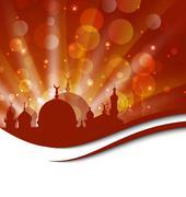 elegant religious card with beautiful mosque - stock illustration