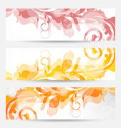 set floral templates with changing autumnal colors - stock illustration