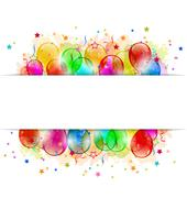 Set party balloons, confetti with space for text Stock Illustration