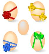 Realistic illustration of set by easter eggs with bows Stock Illustration