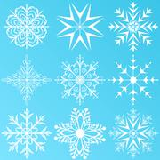 Set variation snowflakes isolated Stock Illustration