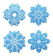 set of variation snowflakes isolated - stock illustration