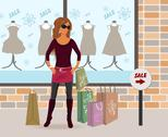 Stock Illustration of modern girl loaded with shopping bags