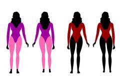 silhouettes of women in sportswear - stock illustration