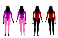 Stock Illustration of silhouettes of women in sportswear