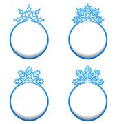 Set of variation label with snowflakes isolated Stock Illustration