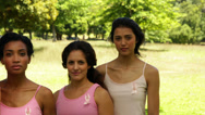 Stock Video Footage of Diverse women wearing pink for breast cancer awareness in the park