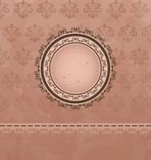 vintage background with floral medallion - stock illustration