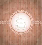 Vintage background with coffee label, coffee bean's texture Stock Illustration