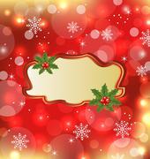 template frame with mistletoe for design christmas card - stock illustration
