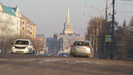 Stock Video Footage of Krasnoyarsk street traffic 01