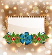 christmas elegant card with mistletoe and bow - stock illustration