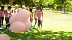 Happy women going on a walk for breast cancer awareness in the park Stock Footage