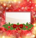 Stock Illustration of christmas elegant card with mistletoe and bow