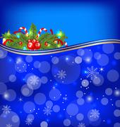 christmas glowing background with holiday decoration - stock illustration