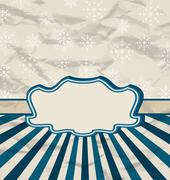 Stock Illustration of retro vintage celebration card with snowflakes