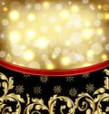 Stock Illustration of christmas ornamental golden background or holiday packing