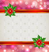christmas elegant card with flower poinsettia - stock illustration