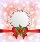 christmas card with flower poinsettia - stock illustration