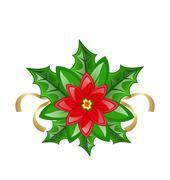 flower poinsettia for christmas decoration - stock illustration
