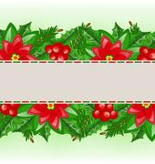 Stock Illustration of christmas card with holly berry and poinsettia