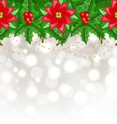 christmas glowing background with holly berry and poinsettia - stock illustration