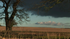 English winter scene over farm Stock Footage