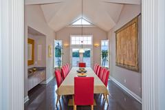 Red symmetry Dining Room Stock Photos