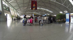 Tracking shot to check-in area at Incheon International Airport Stock Footage