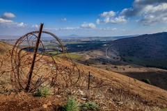 israeli - syrian border - stock photo