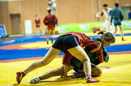 Stock Photo of sambo or self-defense without weapons. competitions girls...