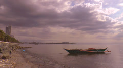 Boat at manila bay time lapse Stock Footage