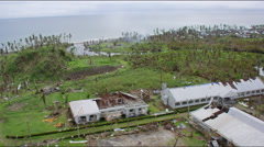 Ruined school in Tacloban after typhoon Haiyan Stock Footage