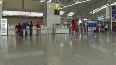 Inside Incheon International Airport, Asiana Airlines Desk_02 Stock Footage
