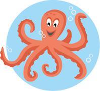 playful octopus - stock illustration