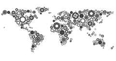 World map made of cogs and wheels - stock footage