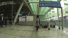 Escalator inside Incheon International Airport Stock Footage