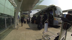Outside Incheon Airport Passenger Busses Stock Footage