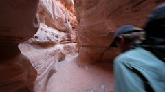 Slot canyon canyoneering landscape adventure 3 Stock Footage