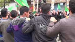 Iran, muslim men take part in sombre parade during Ashura, Muharram - stock footage