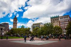 copley square, in boston, massachusetts. - stock photo