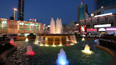Fountain at night in Manama, Bahrain Stock Footage