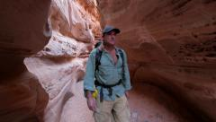 Slot canyon canyoneering landscape adventure 2 Stock Footage