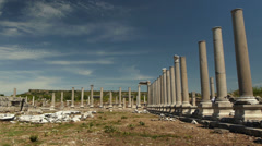 Wide shot of a temple type area in the ruins of the ancient city Perge in - stock footage