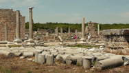 Stock Video Footage of Remains of ancient greek columns against a blue sky in an ancient city Perge in