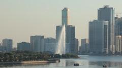 Fountain at Sharjah Creek Stock Footage