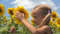 Girl, Child Playing, Smelling Crop Sunflower Field, Children, Countryside, Farm - stock footage