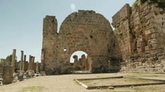 Ruins of ancient public Roman baths in Perge, Antalya, Turkey - stock footage