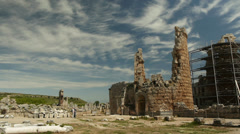 Ruins of the ancient site in Perge, Turkey Stock Footage