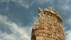 Rounded tower at the ruins of ancient city Perge, Antalya, Turkey - stock footage